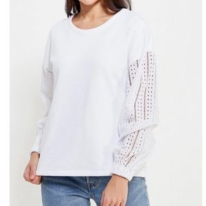 Banana Republic Tops - Eyelet Lace Sleeve Sweatshirt